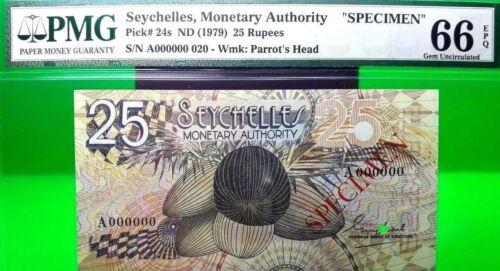 SEYCHELLES 25 RUPEES ND 1979 MONETARY AUTHORITY SPECIMEN PICK 24 s VALUE $1000