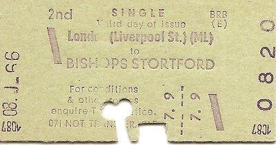 B.R.B. Edmondson Multiprinter Ticket - London Liverpool St. to Bishops Stortford