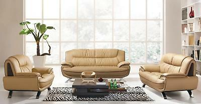 Esf 405 Modern Beige Chic Italian Leather Sofa Living Room Set 3Pcs Contemporary