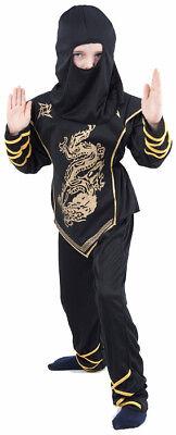 Ninja-Kostüm schwarz und gold für Jungen Cod.173873 ()