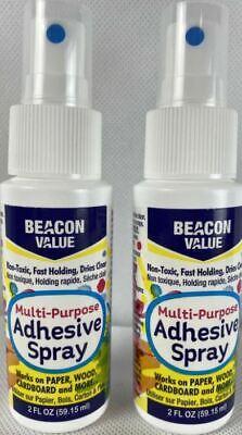 New 2 X 5 Oz Beacon Value Multi-purpose Adhesive Spray Non Toxic Dries Clear