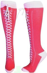 Sneaker-Converse-Novelty-Shoe-Knee-High-With-Shoe-Lace-Hot-Pink