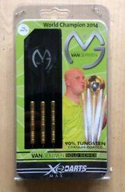 Michael Van Gerwen XQ Darts 25 Grams 90% Tungsten Titanium Coated Gold Series (brand new and boxed)