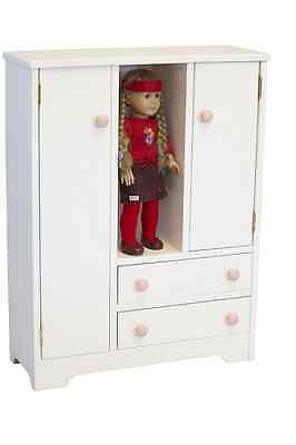 """18"""" Doll Wardrobe Closet WHITE Amish Craft American Made Not a Kit Solid Wood"""