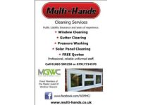 Window cleaning, Gutter clearing, Solar Panel Cleaning, Pressure washing and more.