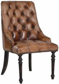 New Brown Leather Button Back Chair