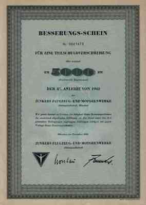 Junkers AG 1960 Dessau Köthen Magdeburg Zittau 5000 DM Historische Wertpapiere