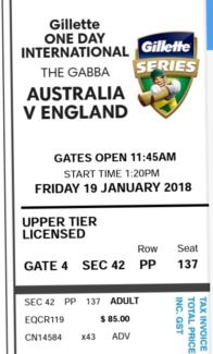 Australia v/s England ODI ticket : $70