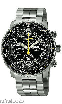 Seiko SNA411 Flightmaster Pilot Alarm Chronograph 200m Men's Watch SNA411P1