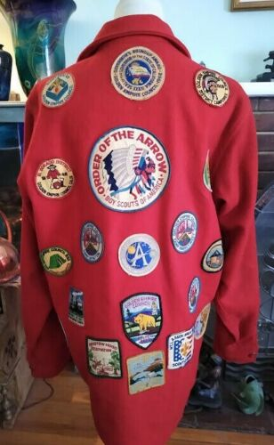 """Vintage Red Wool BSA Boy Scouts Order of Arrow Jacket w/ Patches California 42"""""""