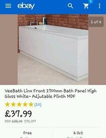 White Gloss 1700mm Bath Panel and Adjustable Plinth MDF