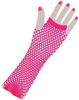 Leuchtend Rosa Lang Fischnetz Handschuh Großartig für Race For Life - Rosa Racer Kostüm