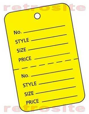 200 Large Price Hang Tags Wo Strings Unstrung Yellow 2-part Perforated