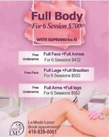 Laser hair removal special promotion, 6 sessions for 700$