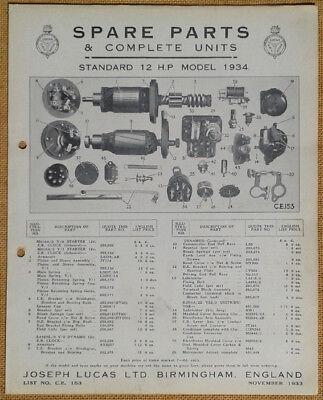 Standard 12hp model 1934    Lucas Parts List 153