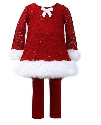Bonnie Jean Girls Red Santa Christmas Lace Velvet  Dress Legging Outfit 2T-6X
