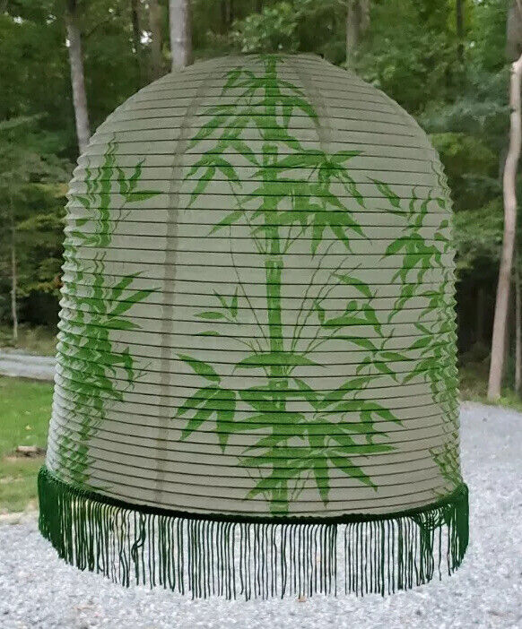 Green Paper Lantern Vintage With Green  Tassels Mid Century