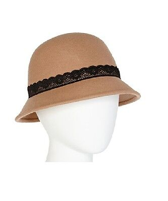 - Studio 36 Womens Lace Band Wool Cloche Hat Camel One Size NEW