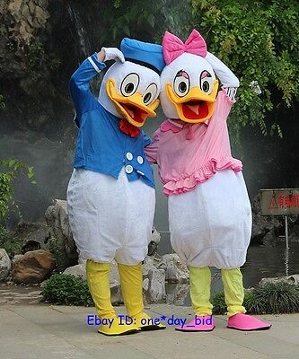 Donald and Daisy Duck Adult Mascot Costume Party Clothing Fancy Dress Set of - Daisy Duck Kids Costume
