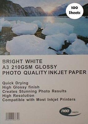 100 Sheets A3 Bright White 210gsm Photo Quality Glossy Inkjet Paper Neo Media Bright White Glossy Photo Paper