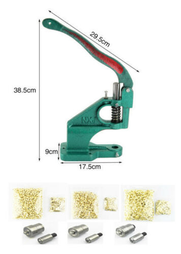 Grommet Machine Hand Press Setter Tool with 6/8/10mm Dies & Eyelets