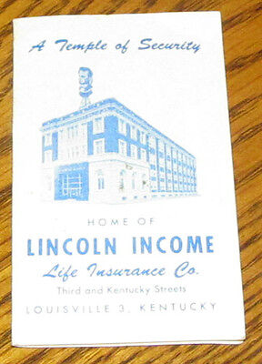 Vintage Lincoln Income Life Insurance Louisville Ky Kentucky Sewing Needles