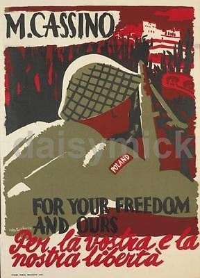 """Polish Poster World War 2 Monte Cassino For Your Freedom & Ours , 7x5"""" reprint"""