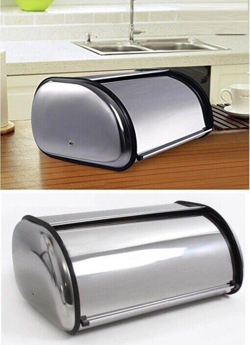 Portapane Pane Crock Design Moderno Grande Rotolo Top Contenitore Acciaio Inox