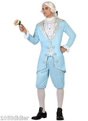 Costume Man MARQUIS Blue M / L Adult Courtier Noble Medieval NEW Cheap (Cheap Renaissance Costume)