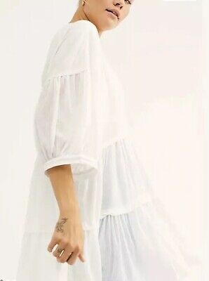New We The Free People Skye Tee L Tunic Top Mini Dress White Tier New OB1024823