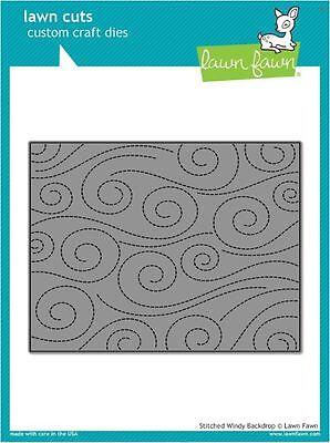 Lawn Fawn Lawn Cuts Single Die ~ STITCHED WINDY BACKDROP  Swirls  - Windy Background
