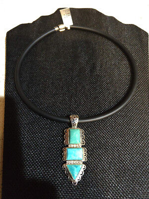 Jay King Turquoise Pendant Sterling Silver 18