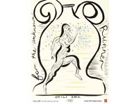 London 2012 artist Olympic offset lithograph poster The Unknown Runner designed by Chris Ofili CBE
