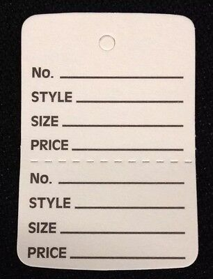 1000 White Clothing Consign Tag Perforated Unstrung Price Merchandise Store Tag