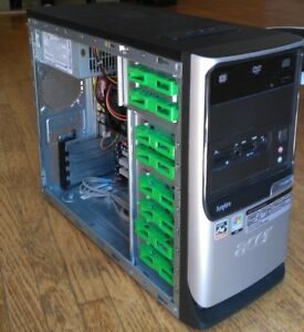 Acer Aspire desktop tower CPU RAM HDD DVD burner
