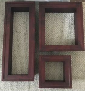 **3 CHERRYWOOD COLORED WALL DECOR BOXES FOR SALE**