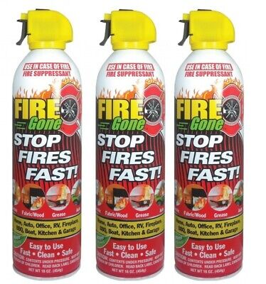 3 Pack Lot Fire Gone 16oz Can - Fire Extinguisher - Extinguish Auto Boat Fires