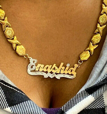 14k Gold Overlay Personalized Name Necklace Plate xoxo chain /single plate