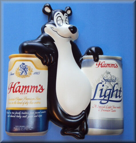 Vintage HAMMS Beer, BEAR With Cans, Flat Flexible Refrigerator Magnet, READ ALL!