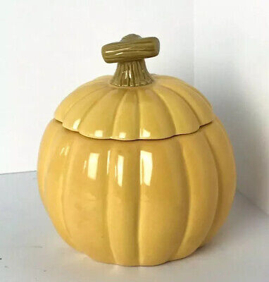 Hallmark New Ceramic Yellow Orange Fall Pumpkin Candle with Lid Autumn Halloween