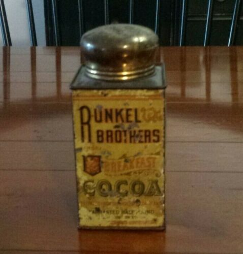 Vtg Antique Runkel Brothers Breakfast Cocoa Half Pound Tin Can with Lid (#1)