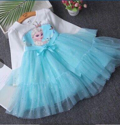 Princess Fasching Lange Ärmel Kleid Karneval Cosplay Kostüm (Lange Elsa Kostüm)