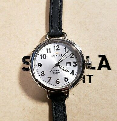 Shinola Birdy With 34mm Silver Face With Silver Numbers & Black Leather Band.