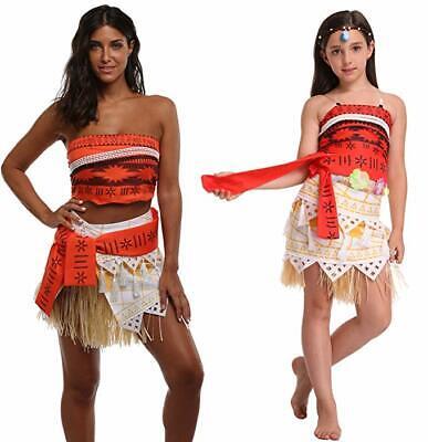 Princess Halloween Costumes Women (Moana Costume Polynesia Princess Skirt Outfit Adult Women Girl Halloween)
