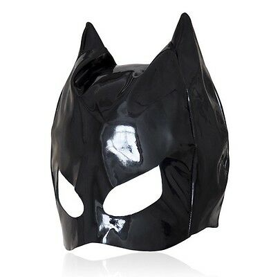 Shinning PVC Look Head Hood Eyes Open Dungeon Party Black Cat Superman - Black Cat Mask