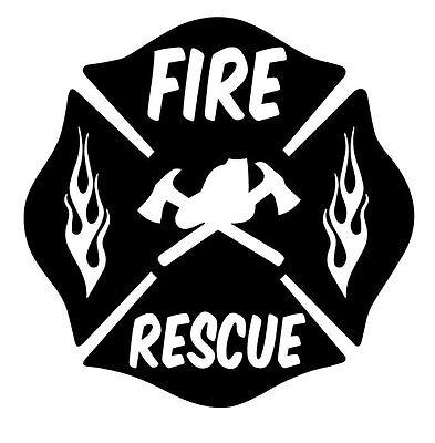 FIRE RESCUE FIREFIGHTER MALTESE CROSS Vinyl DECAL STICKER WINDOW GLASS CAR TRUCK