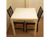 IKEA MELLTORP WHITE TABLE With 2 Chairs STEFAN Brown-black & Chairs Pad JUSTINA