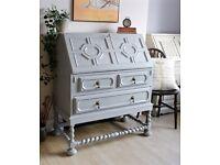 Lovely Antique Shabby Chic Painted Bureau Desk Cabinet. We deliver