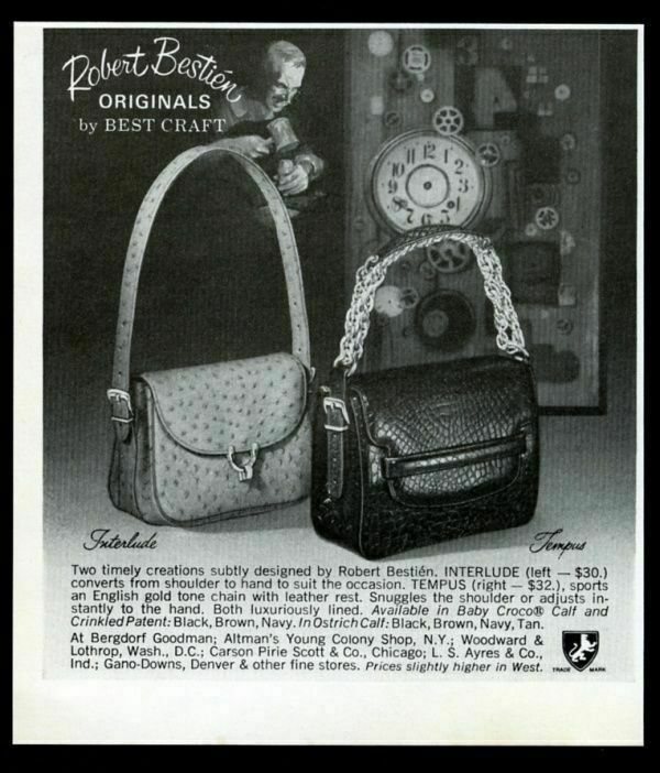 1969 Robert Bestien Interlude and Tempus purse handbag photo vintage print ad