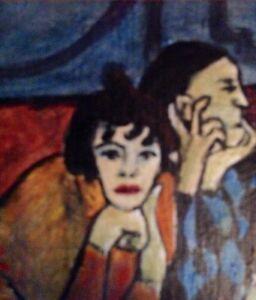 REPRO HARLEQUIN Peinture à l'huile miniature de Raymond Furlotte
